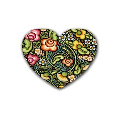 Bohemia Floral Pattern Rubber Coaster (heart)  by BangZart