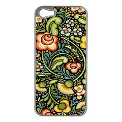 Bohemia Floral Pattern Apple Iphone 5 Case (silver)