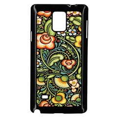 Bohemia Floral Pattern Samsung Galaxy Note 4 Case (black) by BangZart