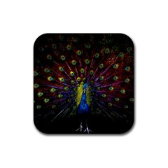 Beautiful Peacock Feather Rubber Square Coaster (4 Pack)  by BangZart