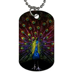 Beautiful Peacock Feather Dog Tag (one Side)