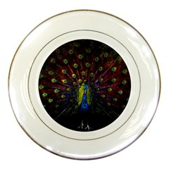 Beautiful Peacock Feather Porcelain Plates