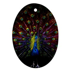 Beautiful Peacock Feather Oval Ornament (two Sides) by BangZart