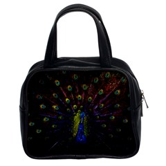 Beautiful Peacock Feather Classic Handbags (2 Sides) by BangZart