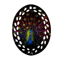 Beautiful Peacock Feather Oval Filigree Ornament (two Sides) by BangZart
