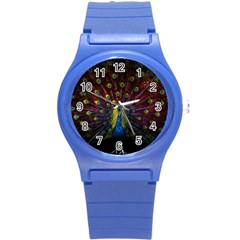 Beautiful Peacock Feather Round Plastic Sport Watch (s) by BangZart