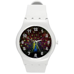 Beautiful Peacock Feather Round Plastic Sport Watch (m) by BangZart
