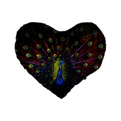 Beautiful Peacock Feather Standard 16  Premium Heart Shape Cushions by BangZart
