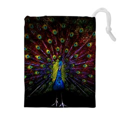 Beautiful Peacock Feather Drawstring Pouches (extra Large) by BangZart