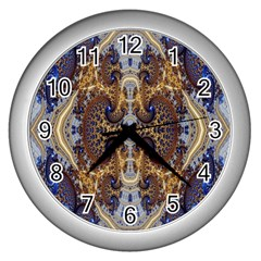 Baroque Fractal Pattern Wall Clocks (silver)  by BangZart