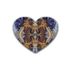 Baroque Fractal Pattern Rubber Coaster (heart)  by BangZart