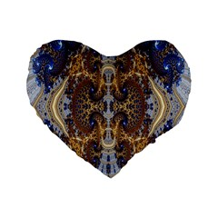 Baroque Fractal Pattern Standard 16  Premium Flano Heart Shape Cushions by BangZart