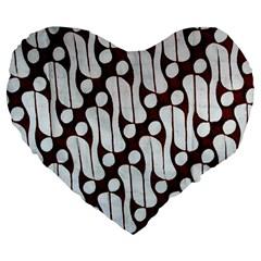 Batik Art Patterns Large 19  Premium Heart Shape Cushions by BangZart