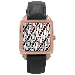 Batik Art Patterns Rose Gold Leather Watch
