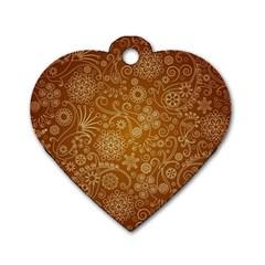 Batik Art Pattern Dog Tag Heart (one Side) by BangZart