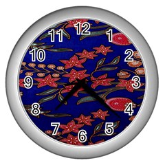 Batik  Fabric Wall Clocks (silver)