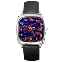 Batik  Fabric Square Metal Watch