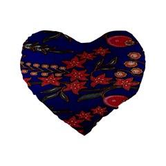 Batik  Fabric Standard 16  Premium Flano Heart Shape Cushions