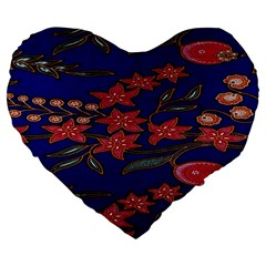Batik  Fabric Large 19  Premium Flano Heart Shape Cushions by BangZart