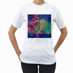 Background Colorful Bugs Women s T Shirt (white) (two Sided)