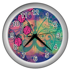 Background Colorful Bugs Wall Clocks (silver)  by BangZart