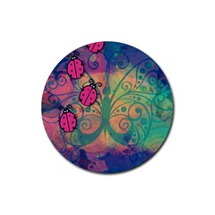 Background Colorful Bugs Rubber Round Coaster (4 Pack)