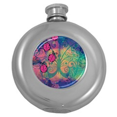 Background Colorful Bugs Round Hip Flask (5 Oz)