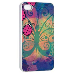 Background Colorful Bugs Apple Iphone 4/4s Seamless Case (white)