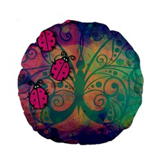 Background Colorful Bugs Standard 15  Premium Round Cushions by BangZart
