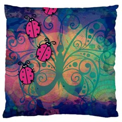 Background Colorful Bugs Large Flano Cushion Case (one Side) by BangZart