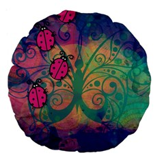 Background Colorful Bugs Large 18  Premium Flano Round Cushions by BangZart