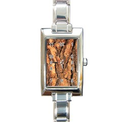 Bark Texture Wood Large Rough Red Wood Outside California Rectangle Italian Charm Watch