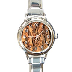 Bark Texture Wood Large Rough Red Wood Outside California Round Italian Charm Watch by BangZart