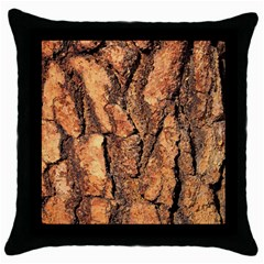 Bark Texture Wood Large Rough Red Wood Outside California Throw Pillow Case (black) by BangZart