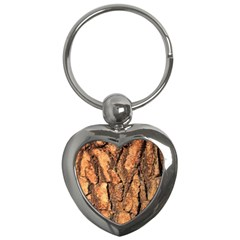 Bark Texture Wood Large Rough Red Wood Outside California Key Chains (heart)  by BangZart