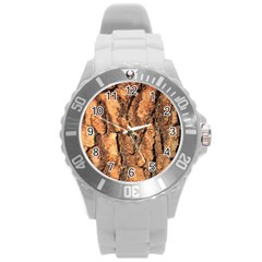 Bark Texture Wood Large Rough Red Wood Outside California Round Plastic Sport Watch (l) by BangZart