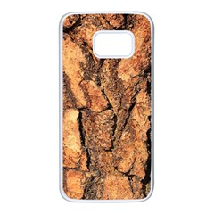 Bark Texture Wood Large Rough Red Wood Outside California Samsung Galaxy S7 White Seamless Case by BangZart