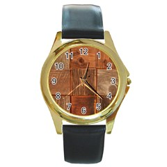 Barnwood Unfinished Round Gold Metal Watch