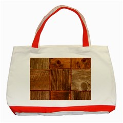 Barnwood Unfinished Classic Tote Bag (red)