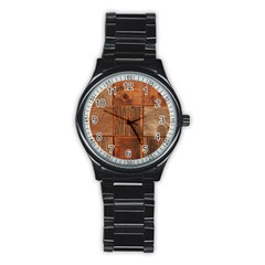 Barnwood Unfinished Stainless Steel Round Watch