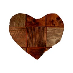 Barnwood Unfinished Standard 16  Premium Heart Shape Cushions by BangZart
