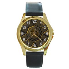 Aztec Runes Round Gold Metal Watch by BangZart