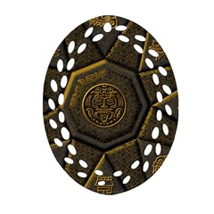 Aztec Runes Oval Filigree Ornament (two Sides) by BangZart