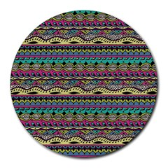 Aztec Pattern Cool Colors Round Mousepads by BangZart
