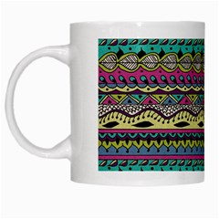 Aztec Pattern Cool Colors White Mugs by BangZart