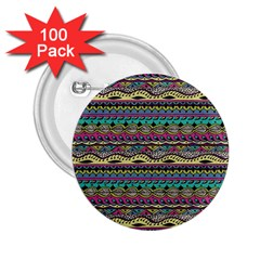 Aztec Pattern Cool Colors 2 25  Buttons (100 Pack)  by BangZart