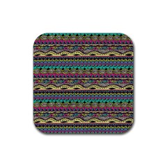 Aztec Pattern Cool Colors Rubber Coaster (square)