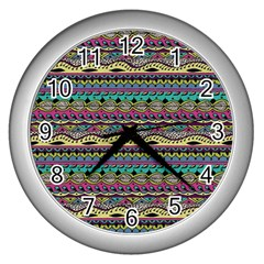 Aztec Pattern Cool Colors Wall Clocks (silver)  by BangZart