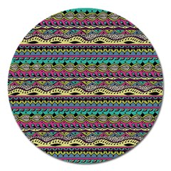 Aztec Pattern Cool Colors Magnet 5  (round)