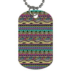 Aztec Pattern Cool Colors Dog Tag (two Sides) by BangZart